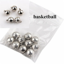 10Pcs Metal Charm Bracelet Accessories 3D Basketball Necklace Jewelry Making Discovery