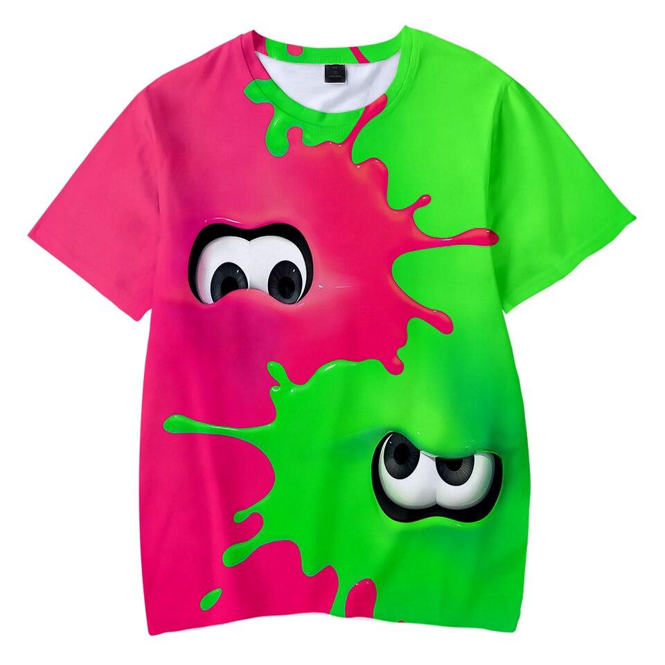 Cool Splatoon Black Squid 3D Kids Summer T-shirt Cool Streetwear Casual Boys/Girls Shirt Fashion Summer Short Sleeve T-shirt