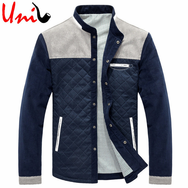 Uni-Splendor 2016 Autumn New Stand Collar Men Warm Jacket Patchwork Mens Casual Winter Cotton Button Coat Male Outerwear YN719