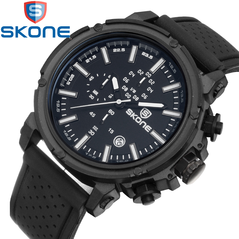 Skone Mens Sports Watches Silicone Multiple Time Zone Waterproof Clock Male Quartz Casual Watch Waterproof Military Wristwatch