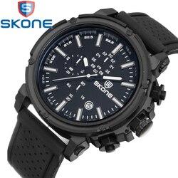 Skone mężczyźni silikonowe zegarki sportowe wielu strefa czasowa wodoodporny zegar mężczyzna kwarcowy zegarek na co dzień wodoodporny zegarek wojskowy