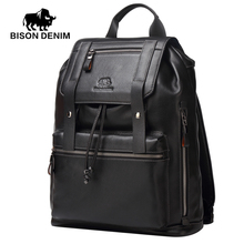 BISON DENIM Backpacks men's Genuine Leather Travel Backpack School Bag Famous Brands top Quality Male Casual Bags