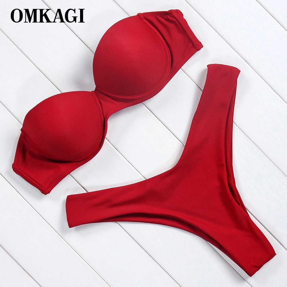 OMKAGI брендовый леопардовый комплект бикини с открытыми плечами Купальник с высокой посадкой женский сексуальный купальный костюм с пуш-ап Пляжная одежда бикини 2019