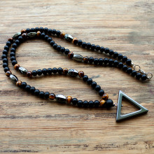 New design 6MM tiger stone, Black color beads and hematite pendant