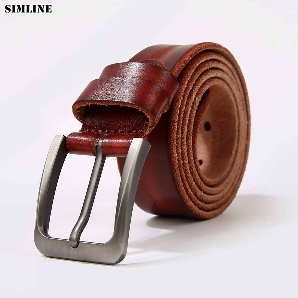 Men Top Layer Leather Casual Vintage Design Pin Buckle Genuine Leather Belts