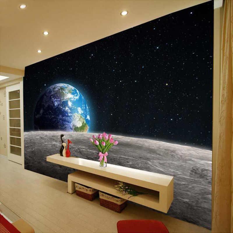 الحديثة صور خلفيات ستار الأرض الكون القمر ثلاثية الأبعاد جدارية كبيرة غرفة المعيشة مطعم أريكة التلفزيون خلفية جداريات حائطية خلفية