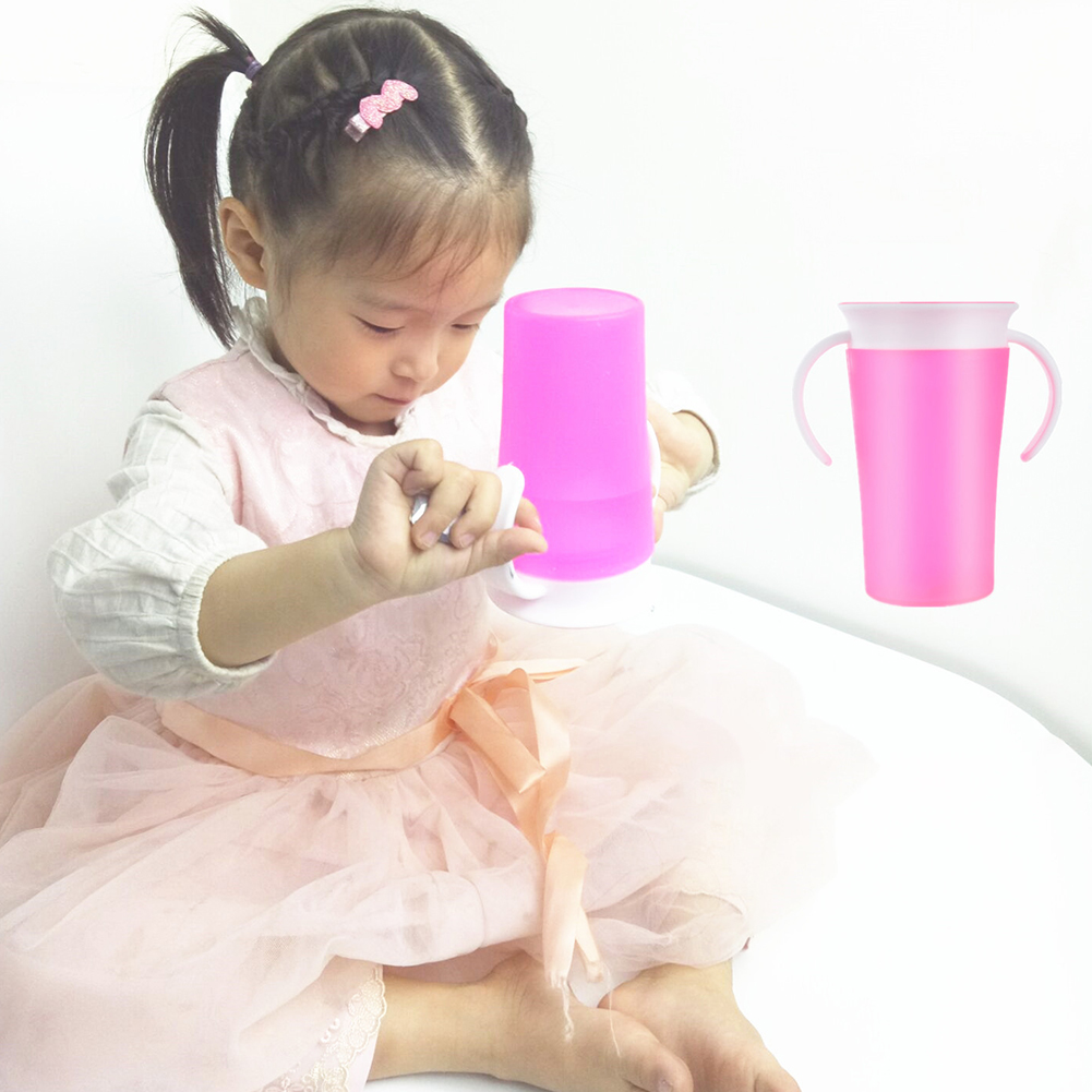 Baby Learning Drinking Cup 360 Degrees Flip Lid Anti Spill Cup Training Toddler Drinking Cup Infants Water Bottle Double Handle