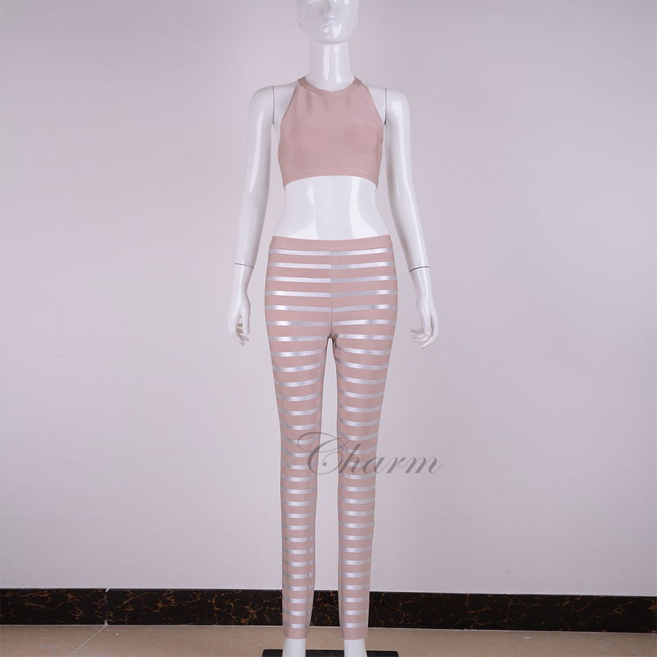 2017 new fashion gold silver oil print striped bandage pants top two pieces club celebrity party wear women sexy bandage set