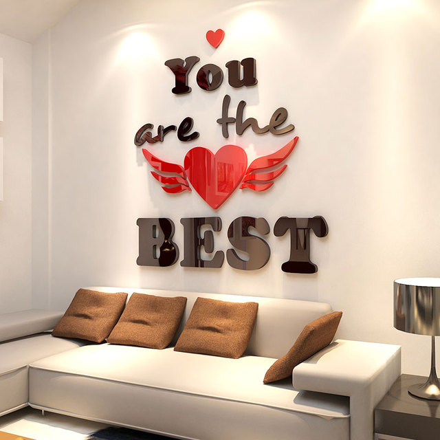 New Romantic Creative 3d Wall Stickers Living Room Bedroom Decoration  Stickers Office Background Wall Decor Acrylic