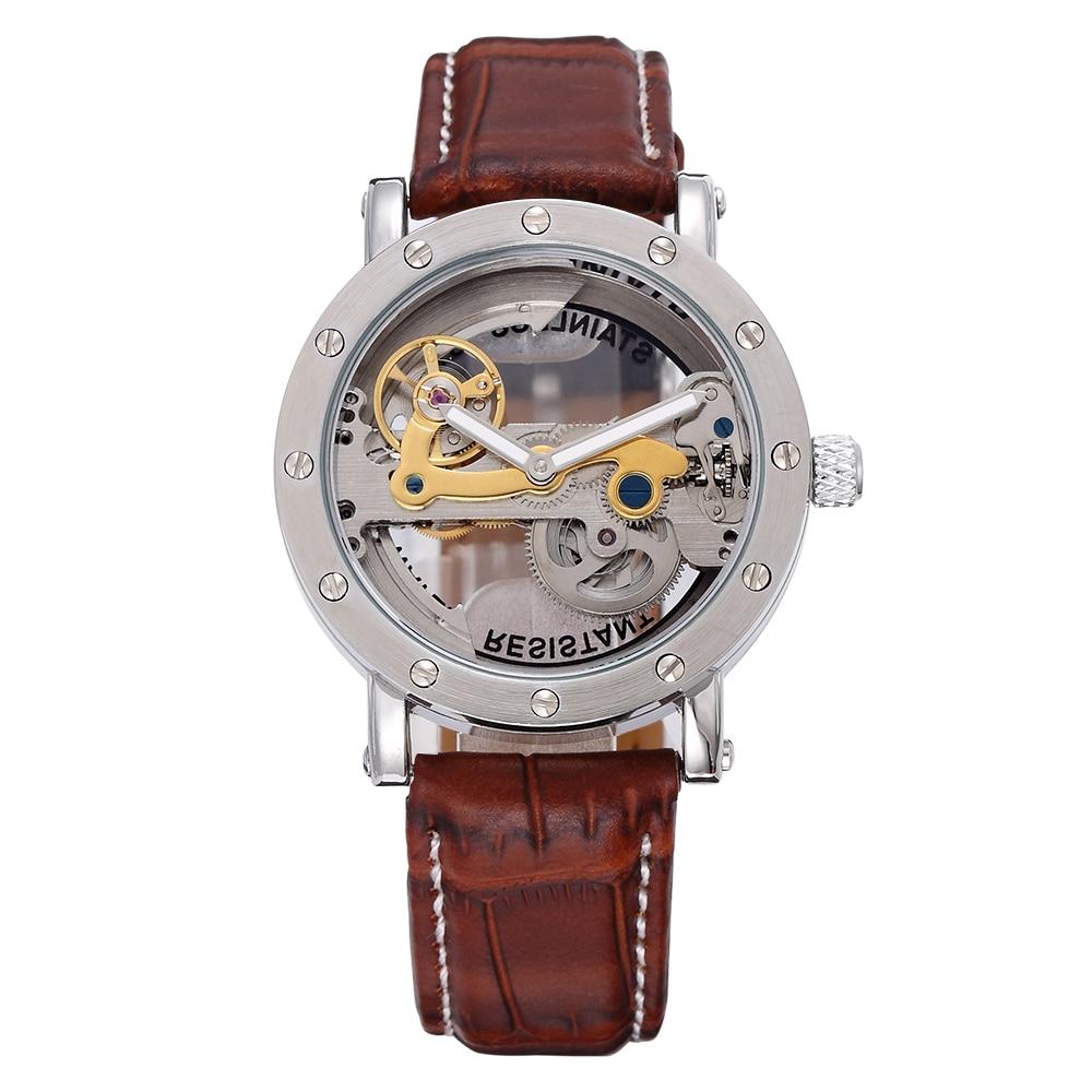 SHENHUA Men s Bridge Analog Display Mechanical Watch Skeleton Automatic Self Wind Male Clock Leather Strap