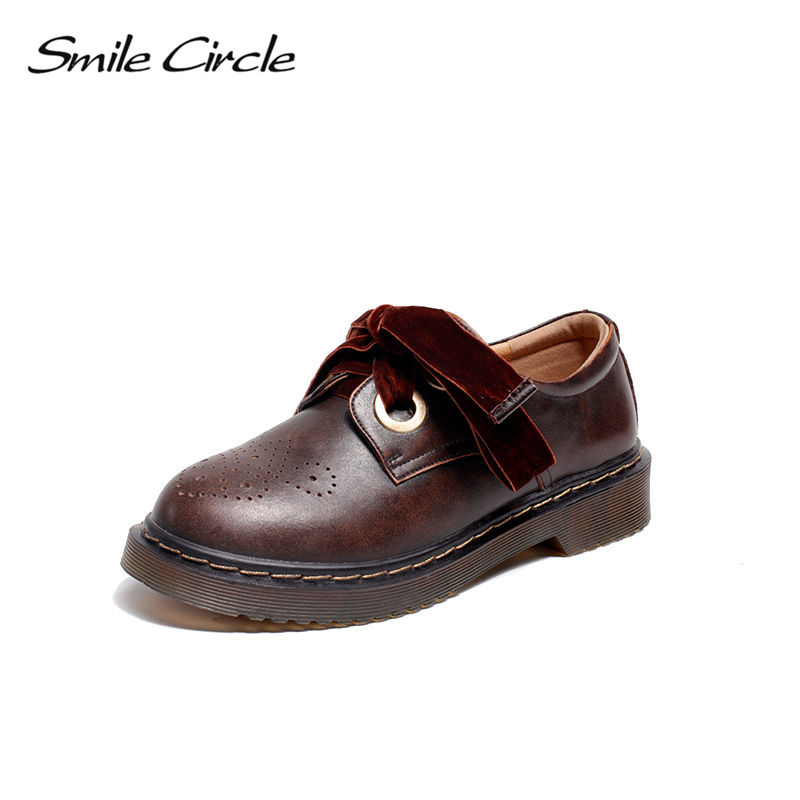 Smile Circle Oxford Flats casual Shoes Women Genuine Leather platform shoes Autumn Comfortable Round Toe Lace-Up Martin shoes beffery 2018 spring patent leather shoes women flats round toe casual shoes vintage british style flats platform shoes for women