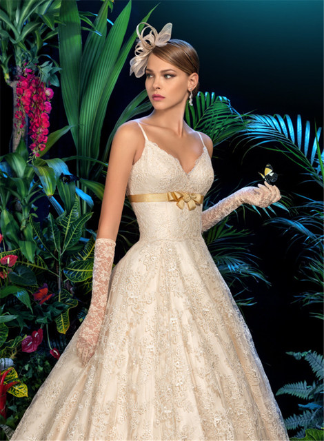 29b28941c14a5 Spaghetti Straps Lace Dropped Waist Wedding Dress With Gold Sash Light  Champagne Color Bridal Gowns