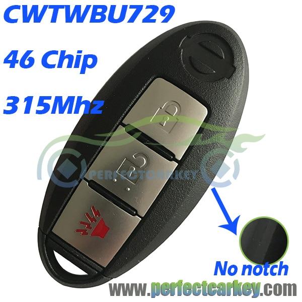 Prix pour CWTWBU729 CWTWBU735 315 Mhz 46 puce auto à distance carte à puce clé de voiture contrôle D'entrée Sans Clé Pour Nissan Rogue Pathfinder Versa Armada