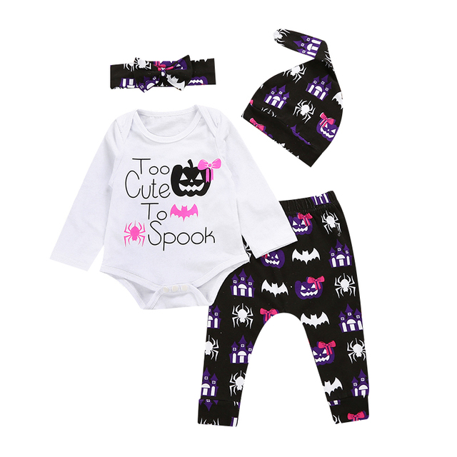 93dfdf8e2eac Halloween Autumn Cute Newborn Baby Girls Clothes Cotton Tops Long Sleeve  Romper+ Leggings Pants+Hat+Headband Outfits Set 4Pcs