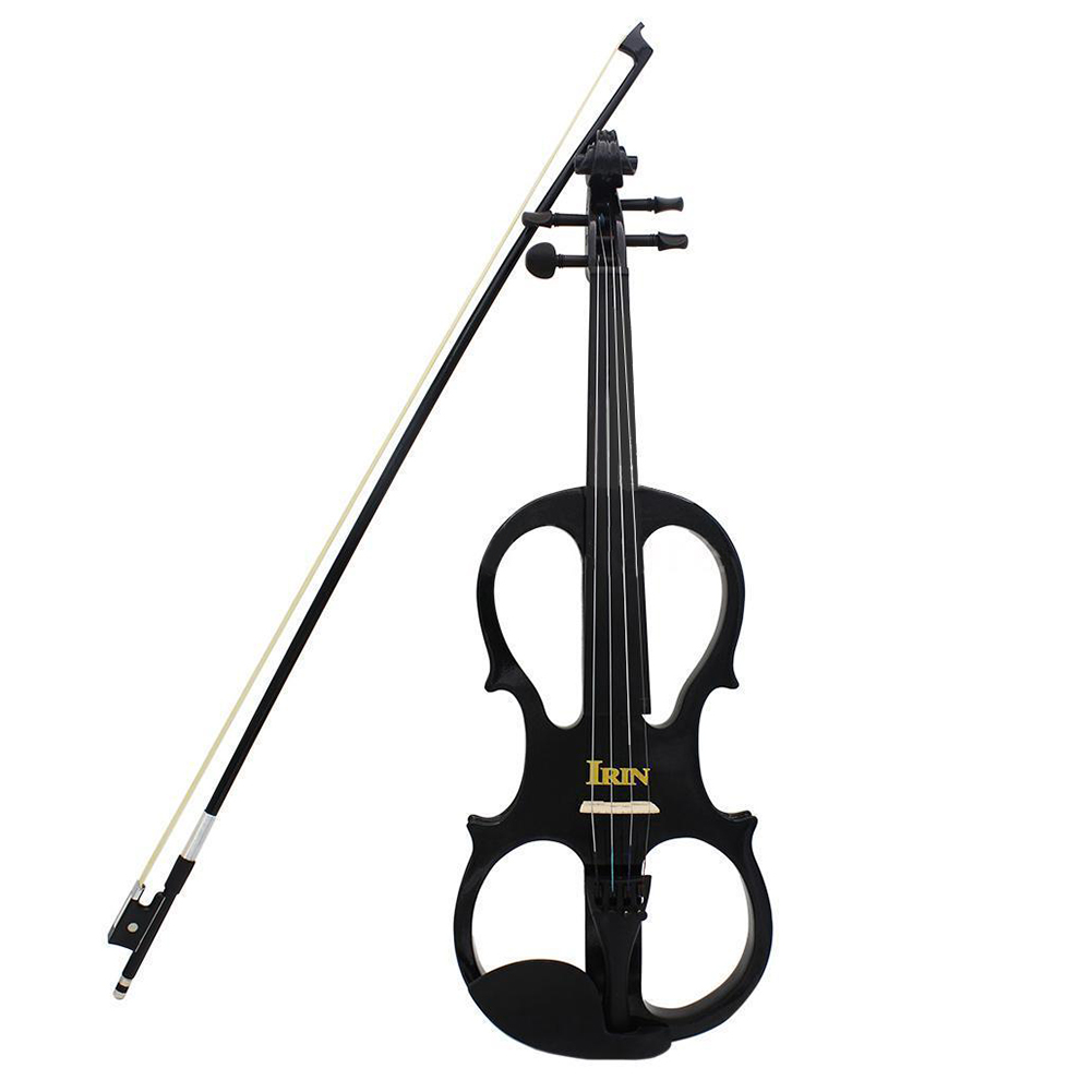 IRIN 4/4 Wood Maple Electric Violin Fiddle with Ebony Fittings Cable Headphone Case Black kinglos advanced electric art full size violin white & black solid wood silent violin 4 4 ebony fittings w parts dsg 1802