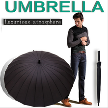 Top Quality 24 Rib Firm Solid Windproof Long Straight Handle Anti-UV Sun/Rain Stick Large Outdoor Umbrella Manual Big Parasol