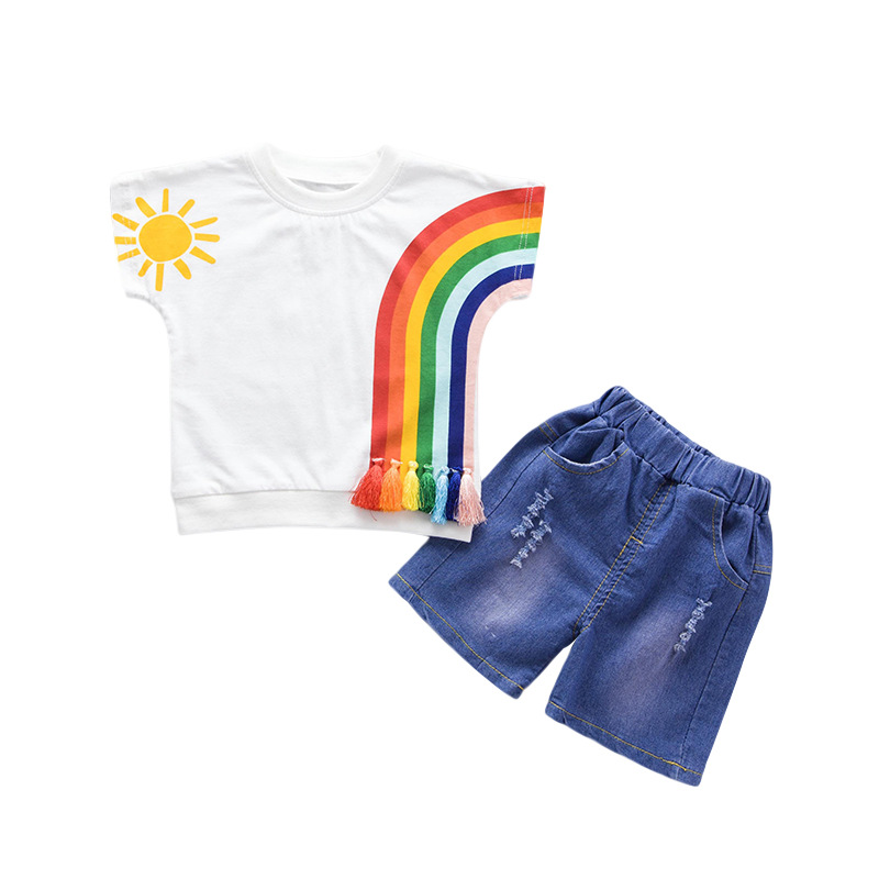 Rainbow Baby Boy Girl Clothing Sets Summer 2018 New Cooton Children Kids Girls Clothes for boys Short Sleeve Boys Clothes children clothing set 2018 new baby girl motion suit child short sleeve leisure time twinset summer wear kids boys clothes