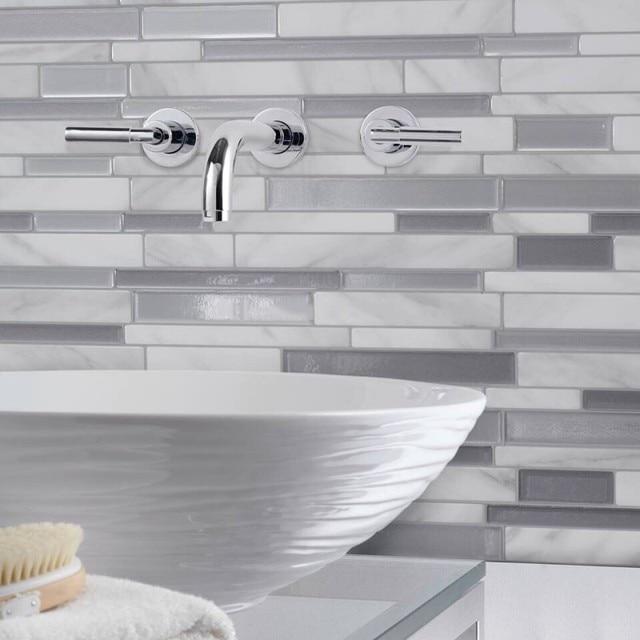 White Grey Marble Mosaic Peel and Stick Wall Tile Self adhesive Backsplash DIY Kitchen Bathroom Home Wall Decal Sticker Vinyl 3D 5