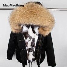 High-quality Women Real Fox fur Winter Jacket Military Parka Large Raccoon fur Hooded Coat