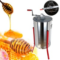 Ship From US Three 3 Frame Stainless Steel Bee Honey Extractor Honeycomb Drum Beekeeping Farm
