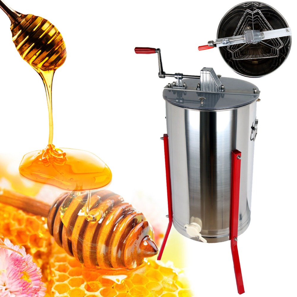 (Ship from EU) Three 3 Frame Manual Honey Extractor Beekeeping equipment Stainless Steel Honeycomb Drum Farm manual honeycomb spinner 3 three frame stainless steel beekeeping accessory with cover
