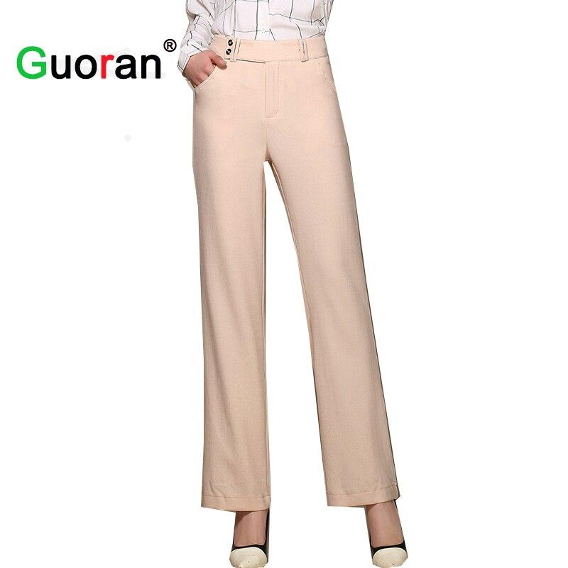 Guoran 2016 new women linen pants long plus size loose for Long linen shirts for womens