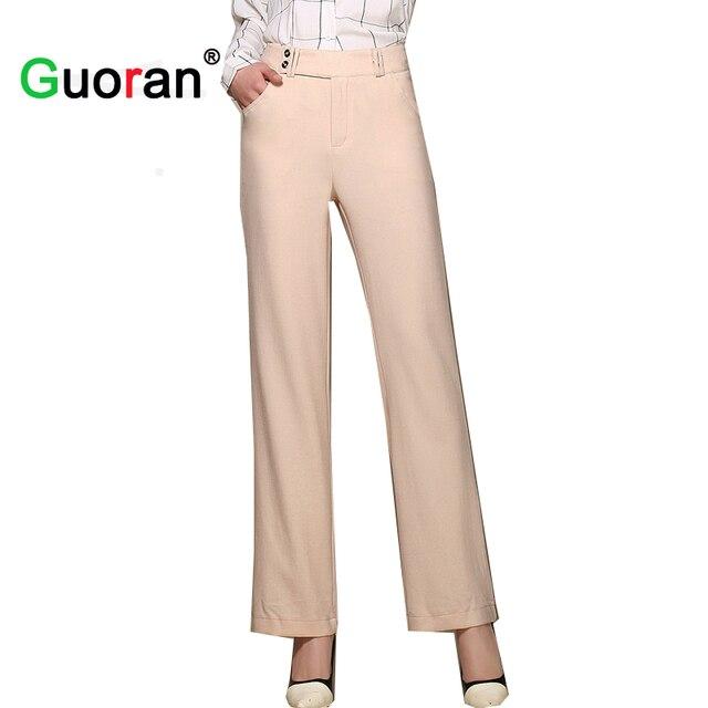 7b4a78d304e1d  Guoran   2018 New Women Linen Pants Long Plus Size Loose Cotton Linen Wide  Leg Pants Female lack White Pink Office Capris Pants