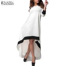 ZANZEA модные женские туфли платье 2018 осень длинное Платья для вечеринок лоскутное асимметричный o Средства ухода за кожей Шеи Vestidos Повседневное свободные плюс Размеры