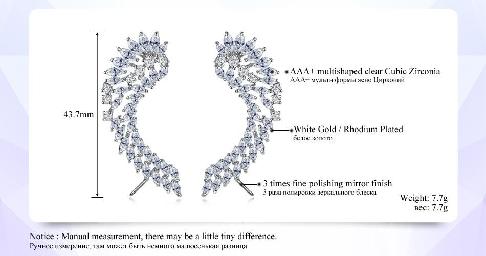 Cubic Zirconia Angel Wings Rhodium Plated Earrings