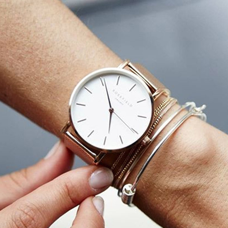 ROSEFIELDHot Famous Brand Silver Casual Quartz Watch Women Metal Mesh Stainless Steel Dress Thin Watches Relogio Feminino Clock 2017 new brand silver crystal casual quartz h watch women metal mesh stainless steel dress watches relogio feminino clock hot