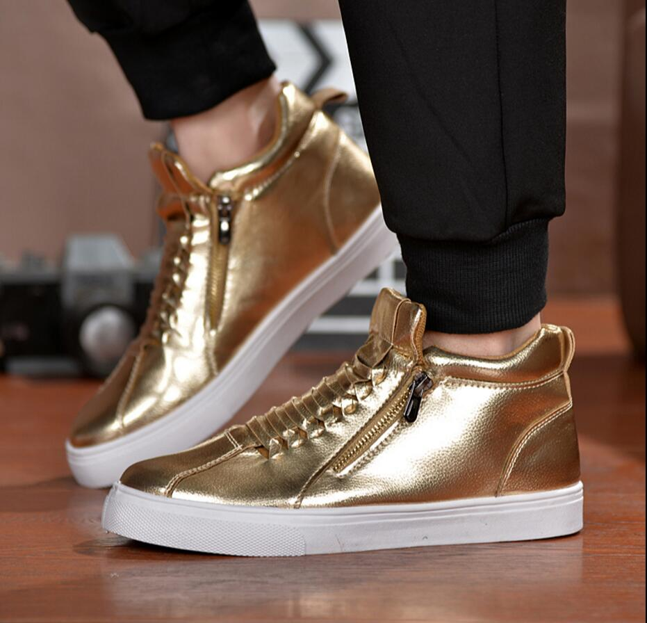 100% QualitäT Männer Casual Schuhe Die Koreanische Version Street Dance Schuhe Silber Nahen Hohe Obere Persönlichkeit Zipper Modische Schuhe Männer Jade Weiß