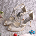 Top Quality Ivory Satin Summer Wedding Bridal Gladiator Sandals with Rhinestones Free Shipping