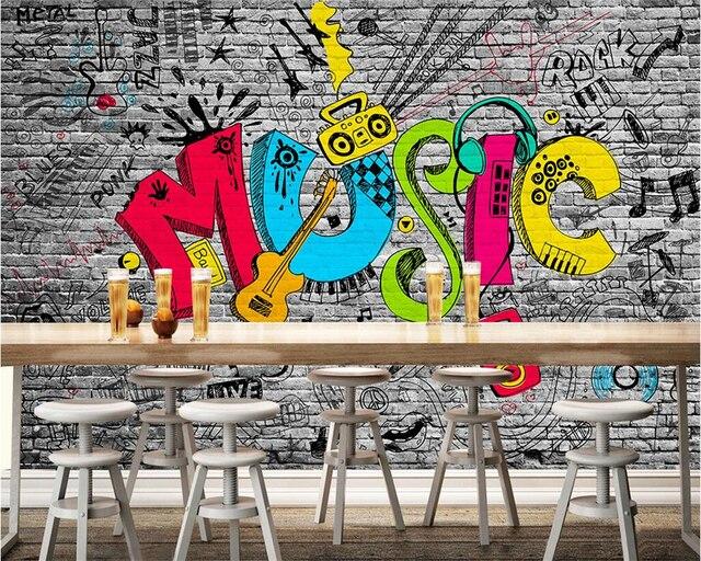 Beibehang Personalisierte 3D wallpaper gemalt ziegelwand graffiti ...