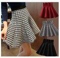 Nueva 2015 otoño invierno corto faldas mujer de cintura alta para hacer punto de lana para mujer falda más el tamaño falda plisada para la mujer