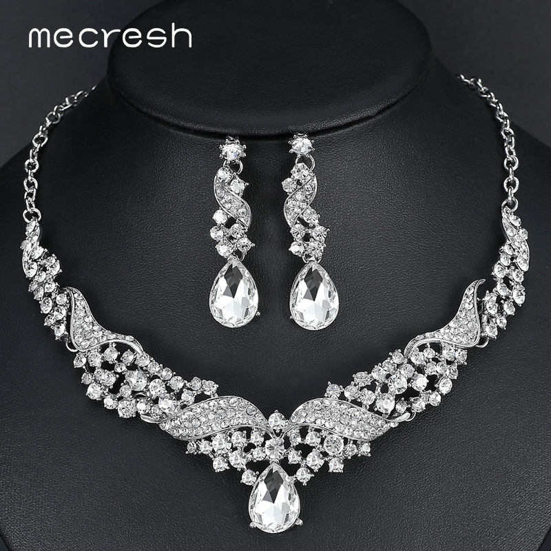Mecresh Luxurious Angel Wings-shape Bridal Jewelry Sets Crystal Rhinestone Wedding Necklace Earrings Sets Party Jewelry TL006 floral shape rhinestone earrings