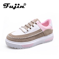 Fujin Brand Women Suede Leather Flat Platform Shoes Woman Autumn New Female Fashion Casual Lace Up