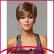 Medusa hair products: Synthetic pastel wigs for women Beautifully Short pixie cut styles Mix color Mono wig with bangs SW0096