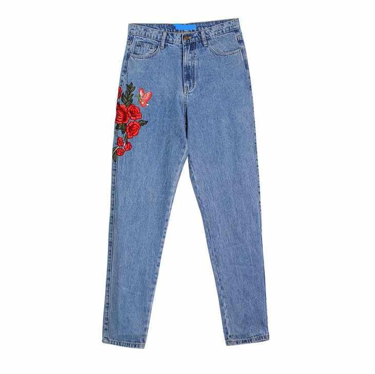 CatonATOZ/2121 женские джинсы с высокой талией для мам с вышивкой и цветами, джинсовые брюки штаны джинсы для женщин