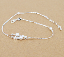 lucky star simple Bead Anklet Silver plated Chain Beach Ankle bracelet Fashion Jewelry for women D4588a