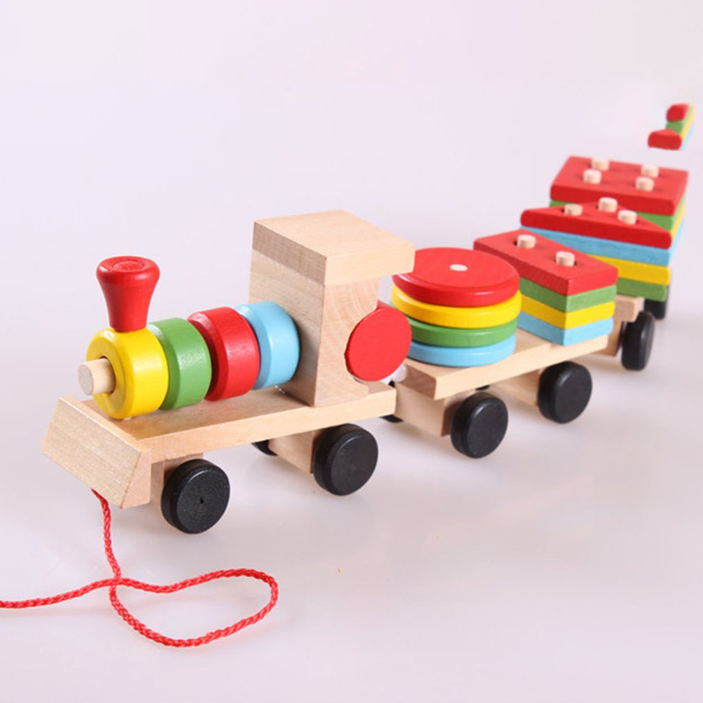 Three section hauling small train wooden educational ...