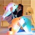 Luz Led Cojín Rosa Lindo Delfín de Peluche de Felpa Muñeca de Juguete de Regalo de Cumpleaños de la Muchacha Del Arco Iris de Color Golpe Para Crecer 45 Cm