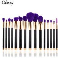 ODESSY 15 PCS Make Up Brush Professional Soft Rose Gold Kabuki Powder Eyebrow Smudge Blending Eyelash