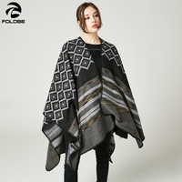 Travel Cashmere Pashmina Poncho Stoles Cape Cloak Women Scarves Thicken Wrap Shawls Coat Soft Ring Winter Warm Female Outwear