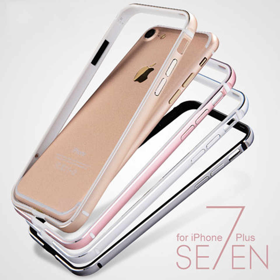 Luxury Aluminum + Rubber Frame For iphone 7 Soft Cover Metal + Silicone Bumper On For iphone7 Plus SE 5 5s 6 6s 7 8 Phone Cases