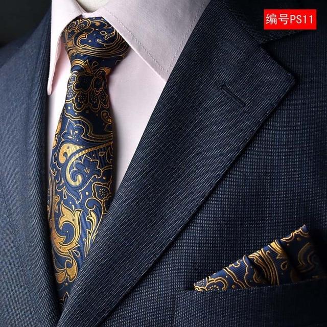 Floral Paisley Striped Jacquard Woven Neck Tie Set Pocket
