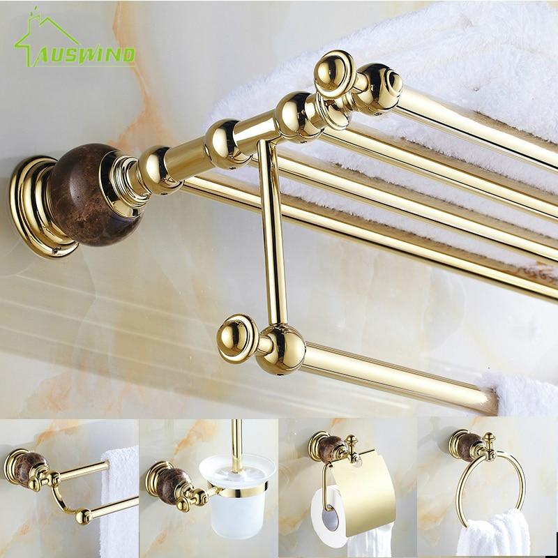 European Gold Plated Bathroom Hardware Sets Marble Brass Polished Bath Decoration Bathroom