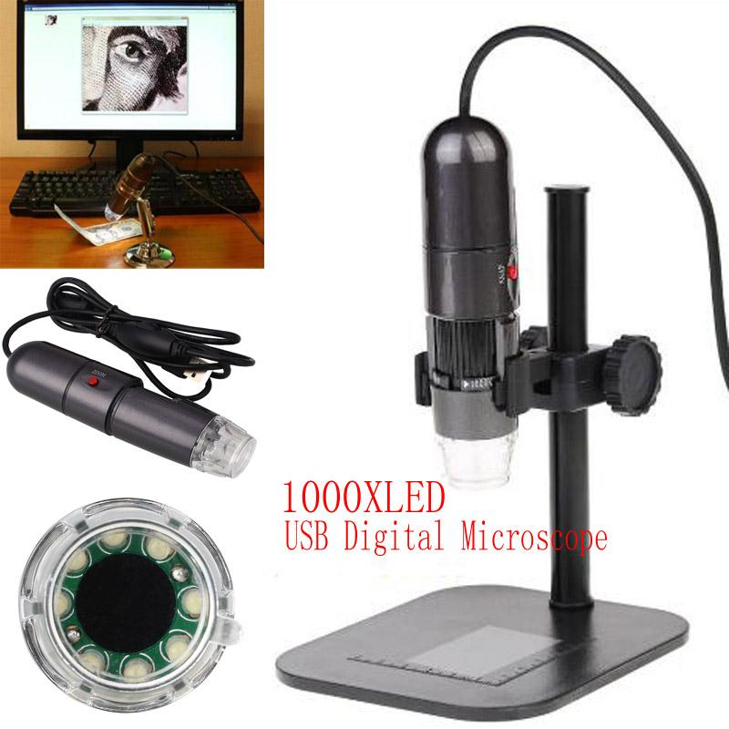 8LED 1000X 10MP USB Digital Microscope Endoscope Video Camera Cam w Stand