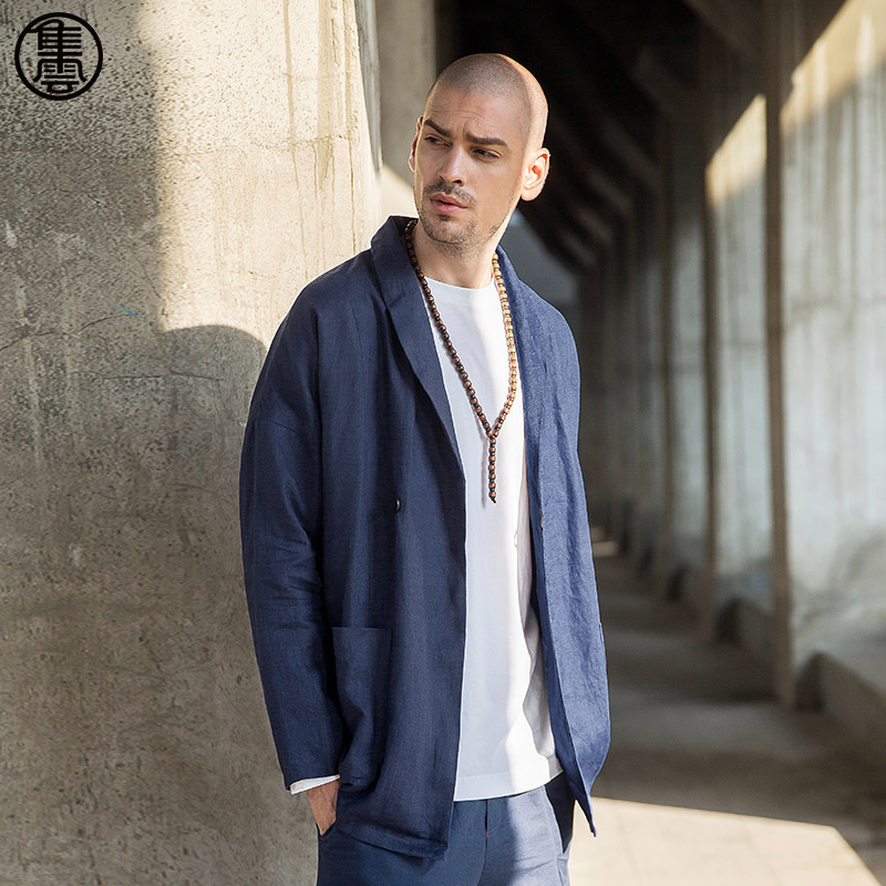 Men's Chinese Style Linen Jacket - Dark Blue eIQ1yH