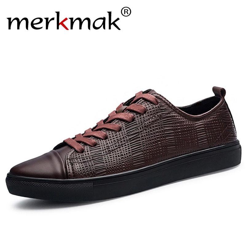 Merkmak Marca De Moda Los Hombres Zapatos Ocasionales Respirables Pisos de Cuero
