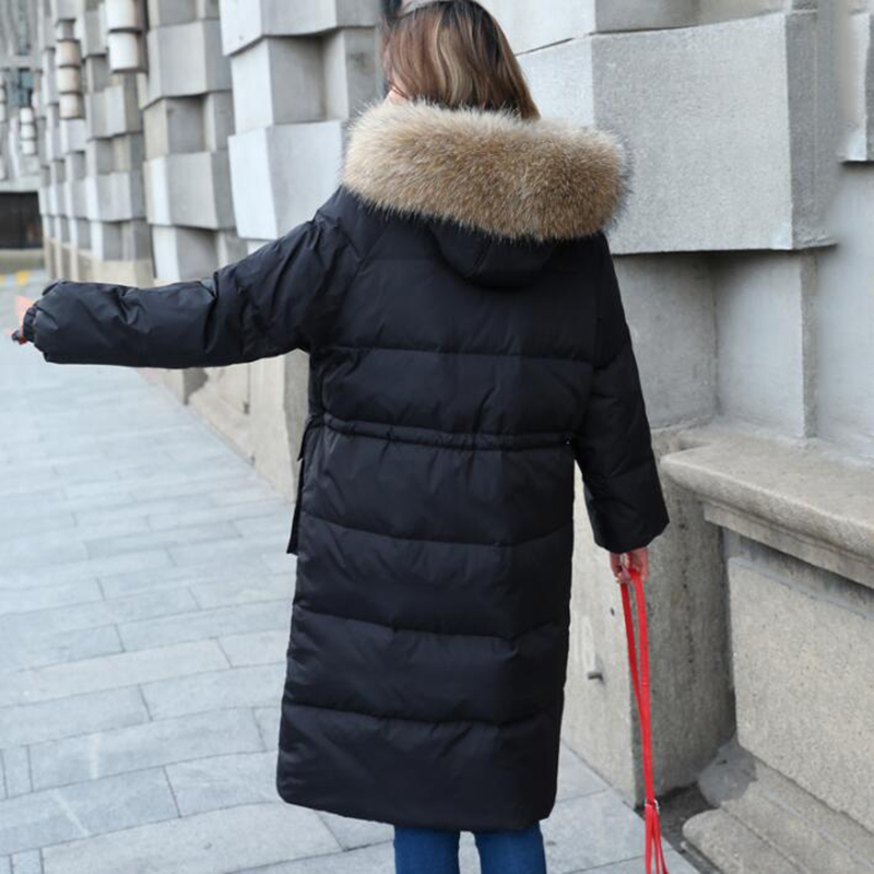 2018 Winter Down Jackets for Women High Quality Hooded Real Fur Collar Thicken Long Fashion Female White Duck Down Coat 1613